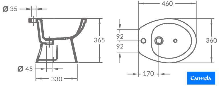 Las dimensiones del bidet de la linea Alpina de OLMOS.