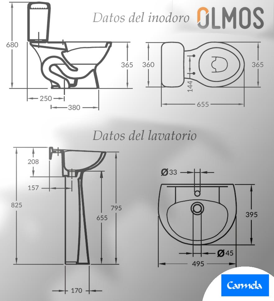 Las dimensiones del juego de loza.